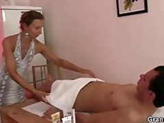 granny masseuse acquires her hairy hole nailed