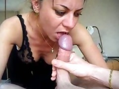 hot milf sucking cock, taking cum in the mouth