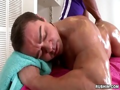 muscled daddy naked as muscular masseur strokes