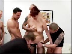 cougar receives a gang bang fuck
