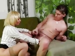 mature golden-haired cookie rub and sucks younger