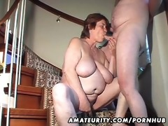 fat amateur wife toys and sucks and gets screwed