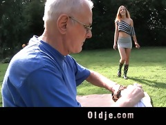 favourable older man cleans youthful horny pussy