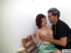 old cameraman with youthful gal