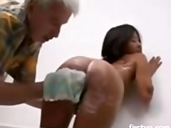 old fellow and youthful asian babe